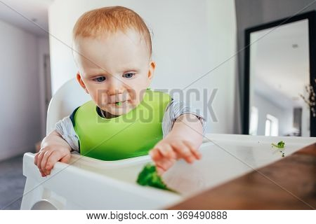 Serious Baby Girl Sitting On Highchair And Grabbing Finger Food. Little Child Starting Eating By Her