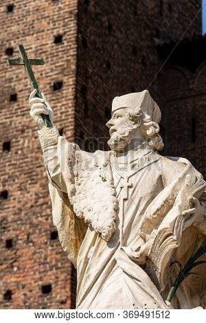 Statue Of Saint John Of Nepomuk (san Giovanni Nepomuceno), Bohemian Priest, Patron Saint Of Bohemia.