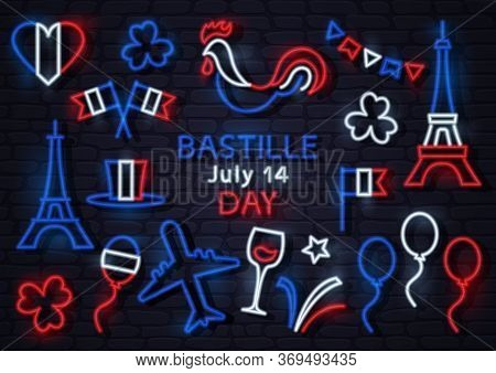 Bastille Day July 14. France Neon Icons. Heart, Flags, Cock, Eiffel Tower, Hat, Balloon, Airplane, C