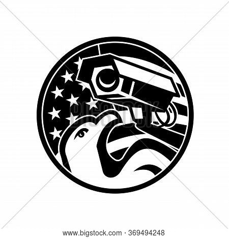 Black And White Illustration Of An American Bald Eagle With Surveillance Security Camera With Usa St