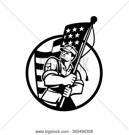 Black And White Illustration Of An American Patriot Soldier Military Serviceman Looking Up Holding A