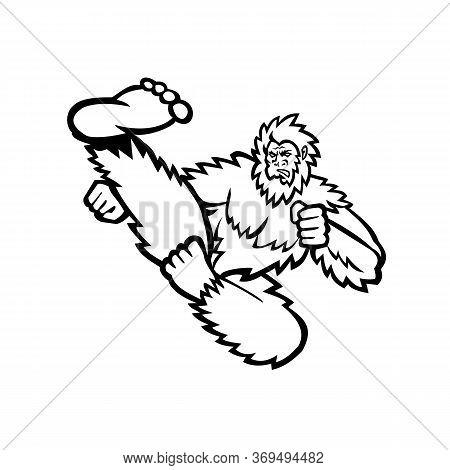 Mascot Illustration Of A Bigfoot Or Sasquatch, A Hairy Ape Like Creature, Doing A Taekwondo Martial