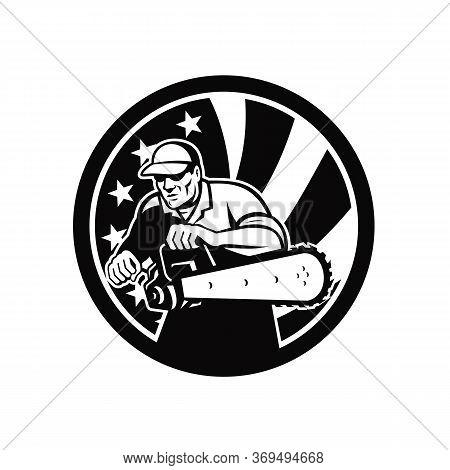 Black And White Retro Style Illustration Of An American Lumberjack Arborist Or Tree Surgeon Holding