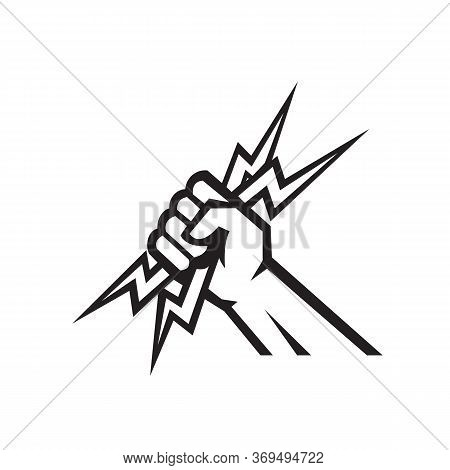 Black And White Icon Illustration Of An American Electrician, Power Lineman Or Handyman Hand Holding