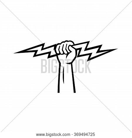 Illustration Of An Electrician Power Lineman Or Construction Worker Hand Holding A Lightning Bolt Vi