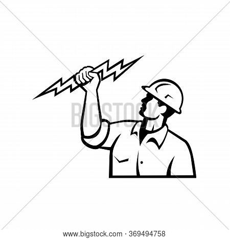 Illustration Of An Electrician Power Lineman Or Construction Worker Holding A Lightning Bolt Viewed