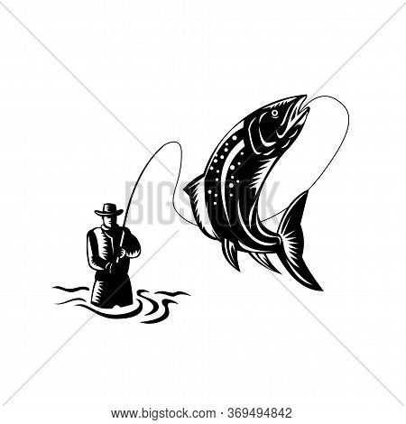 Retro Woodcut Style Illustration Of A Fly Fisherman Catching Reeling A Spotted Trout Fish Jumping On