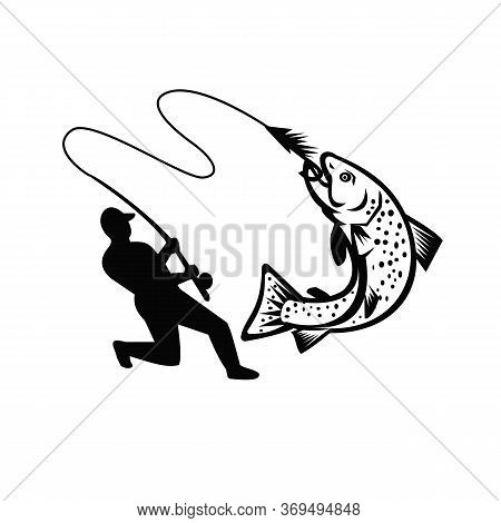 Illustration Of A Fly Fisherman Fishing Casting Rod And Reel Hooking Brook Trout Viewed From The Sid