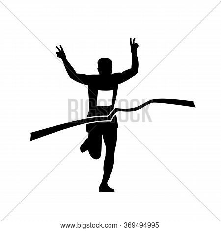 Retro Style Illustration Of A Silhouette Of Victorious Marathon Runner Flashing Victory Hand Sign Wh