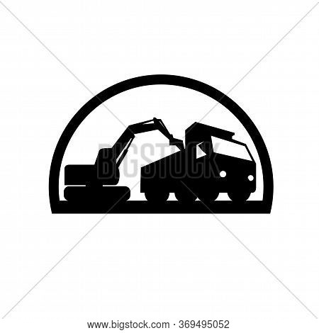 Black And White Illustration Of A Mechanical Digger Excavator Earthmover Loading A Dump Truck Viewed