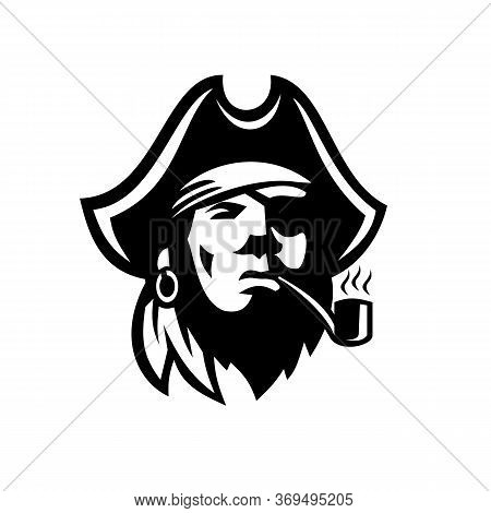 Retro Black And White Style Illustration Of A Buccaneer Or Pirate With Eye Patch And Tricorne Hat Sm
