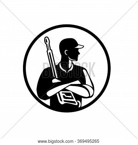 Black And White Illustration Of Power Washer Worker With Arms Crossed Holding Pressure Washing Gun L