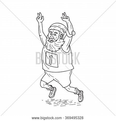 Illustration Of Santa Claus Saint Nicholas Father Christmas Running And Finising A Marathon Raising