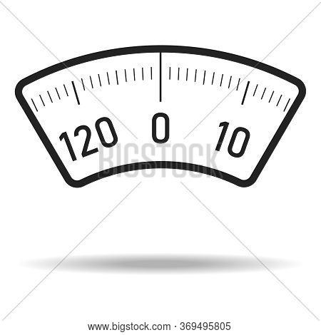 Scales. Floor Scales Dial With Shadow Isolated On White Background. Vector, Cartoon Illustration Of