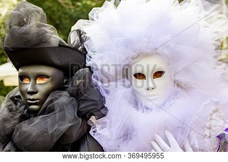 Venice, Italy - February 10, 2013: Unidentified Persons With Venetian Carnival Masks In Venice, Ital
