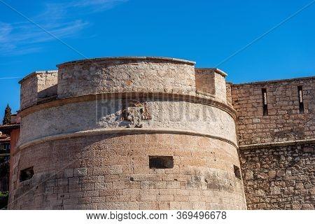 Castello Del Buonconsiglio Or Castelvecchio, Medieval Castle In Trento City. Closeup Of The Fortifie