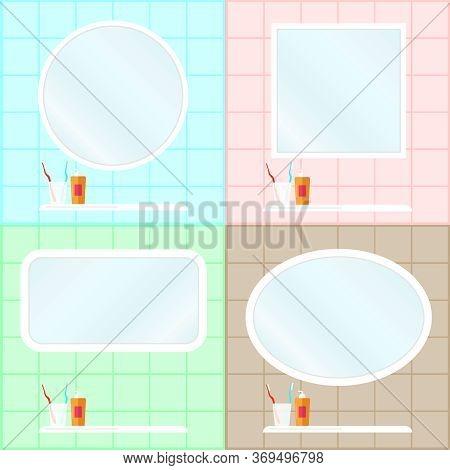 The Interior Of The Bathroom. Bathroom Interior With A Mirror. Washbasin, Bath Accessories On A Tile