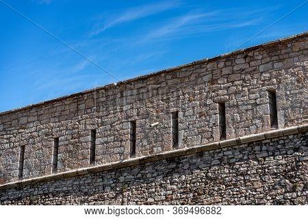 Castello Del Buonconsiglio Or Castelvecchio Medieval Castle In Trento City. Closeup Of The Fortified