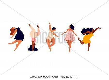Happy Women. Body Positive Vertical Cards. Love Yourself, Your Body Lettering Type.
