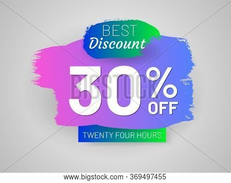 Discount Sale Tag And Paintbrush Stroke. 30 Percent Off Banner. Flat Gradient Design With Shadow. Be