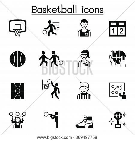 Set Of Basketball Related Vector Icons. Contains Such Icons As Ball, Player, Refree, Basketball Cour