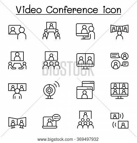 Set Of Video Conference Line Icons. Contains Such Icons As Online Meeting, Business Communication, T