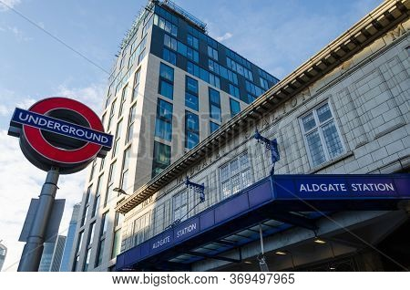 London, Uk: Dec 2, 2017: General View Of The Entrance Canopy To Aldgate Station Which Is On The Lond