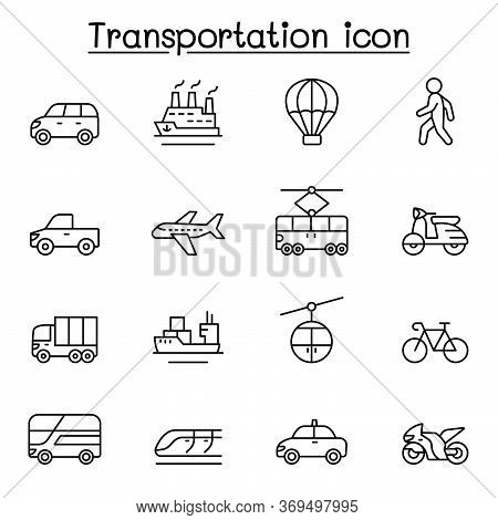 Set Of Transportation Related Vector Line Icons. Contains Such Icons As Airplane, Bus, Truck, Lorry,