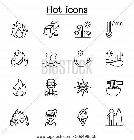Set Of  Heat Related Vector Line Icons. Contains Such Icons As Heating, Temperature, Hot Coffee, Spi