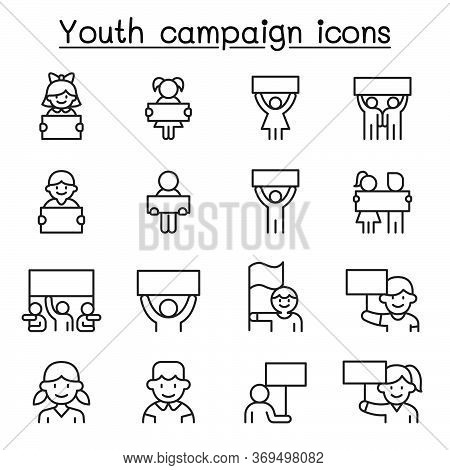 Youth Campaign Related Vector Line Icons. Contains Such Icons As Banner, Placard, Advertising, Teen,