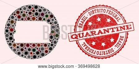 Vector Map Of Brazil - Distrito Federal Collage Of Flu Virus And Red Grunge Quarantine Stamp. Infect