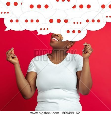 Whats In Your Head. Young Woman With Big Speech Bubbles On Her Head Like A Hairstyle Made Of Thought