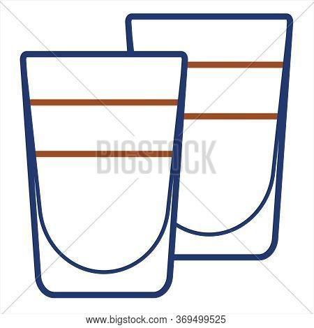 Vector Line Art Minimalist Stroke Stylized Alcohol Cocktail Logo Illustration. 2 Layered Shot Shoote