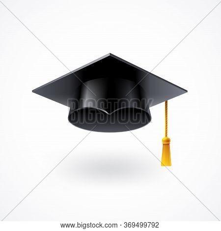 Graduation Cap With Golden Tassel Isolated On White Background. Square Academic Cap. Vector Illustra