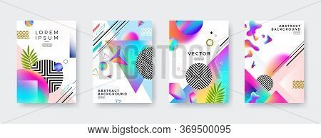 Set Of Vector Abstract Cover Design With Multicolored Gradient, Geometric, Linear, Stipple And Fluid