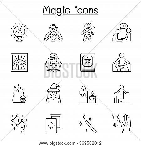 Magic & Clairvoyance Icon Set In Thin Line Style