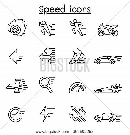 Speed, Fast Icon Set In Thin Line Style