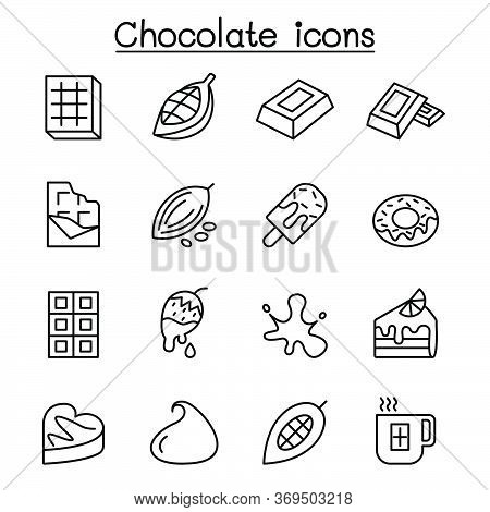 Cacao, Chocolate, Cocoa Icon Set In Thin Line Style