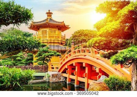 Chi Lin Nunnery Of Nan Lian Garden Situated At Diamond Hill, Hong Kong, China During Sunset