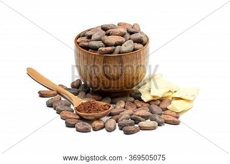 Raw Cocoa Beans In Wooden Bowl, Cocoa Butter And Spoon With Cocoa Powder. Chocolate Ingredients Isol