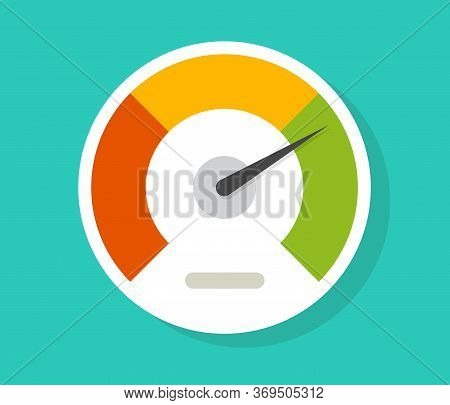 Speedometer Gauge Dial Vector Icon Isolated Or Pressure Progress Power Bar Vector Flat Symbol, Conce
