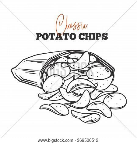 A Bunch Of Potato Chips Spilled Out Of The Package Outline Vector . Crispy Snack, Potato In The Form