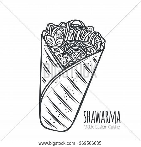 Shawarma Or Chicken Wrap Outline Vector Icon. Turkish Fast Food With Meat And Vegetables In Pita Bre