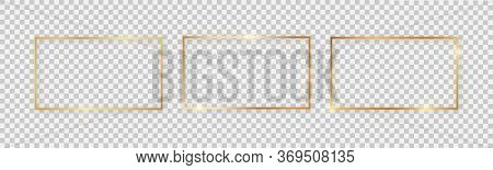 Rectangular Shiny Frames With Glowing Effects. Set Of Three Gold Rectangular Frames With Shadows On