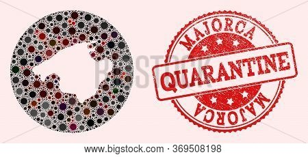 Vector Map Of Majorca Collage Of Flu Virus And Red Grunge Quarantine Seal Stamp. Infection Cells Aro