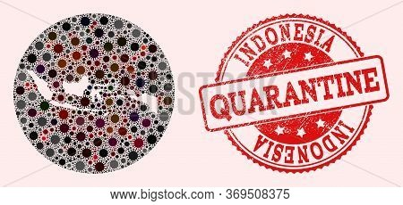 Vector Map Of Indonesia Mosaic Of Sars Virus And Red Grunge Quarantine Seal. Infection Cells Attack