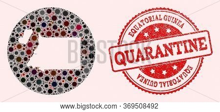 Vector Map Of Equatorial Guinea Collage Of Covid-2019 Virus And Red Grunge Quarantine Seal. Infectio