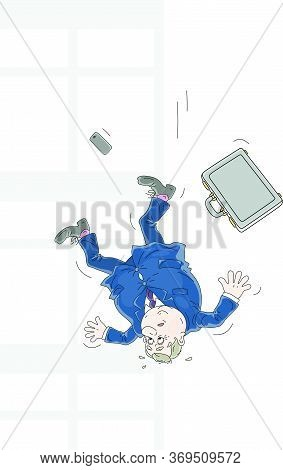 Business Failure, An Insolvent Businessman With His Briefcase Falling Down From A Window Of An Offic