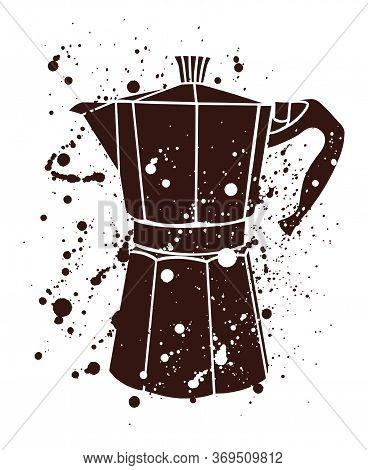 Italian Coffee Maker Or Moka Pot, Espresso Machine, Mocha Express. Hand Drawn Vector Splatter Illust