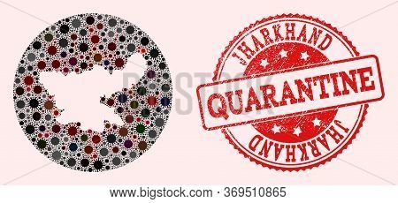 Vector Map Of Jharkhand State Collage Of Covid-2019 Virus And Red Grunge Quarantine Seal Stamp. Infe